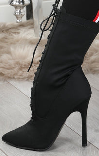 Black Lycra Heeled Lace Up Boots