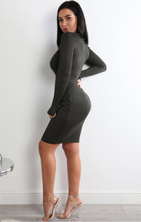 Khaki Belted Bodycon Dress - Vicky