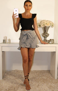 Black Frill Hem Shoulder And Waist Crop Top