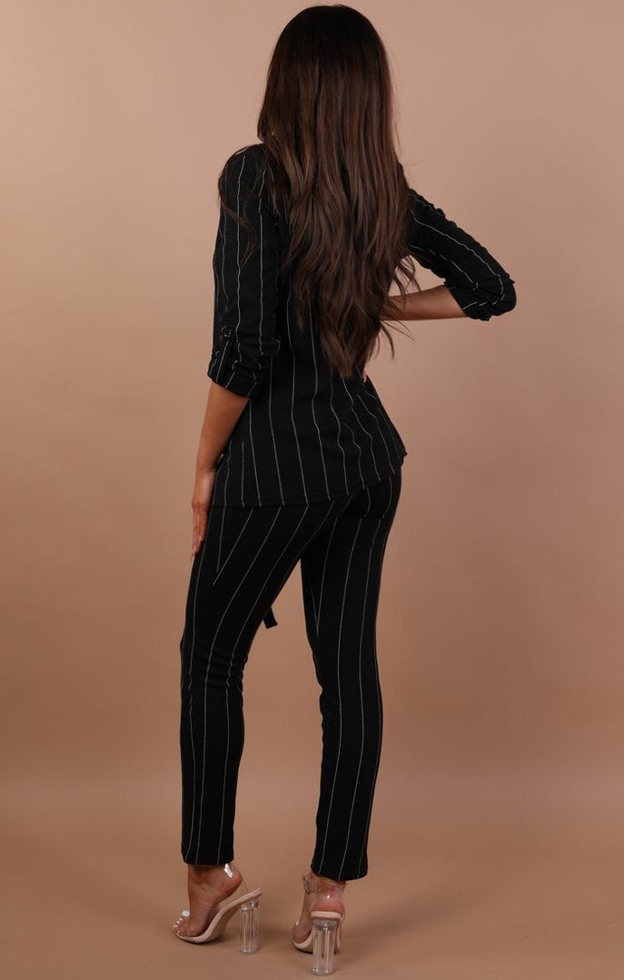 Black Blazer With Black Stripes - Dani