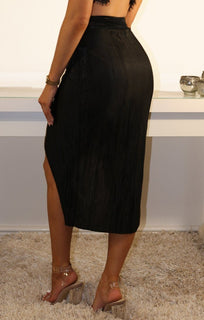 Black Pleated Wrap Over High Waist Skirt