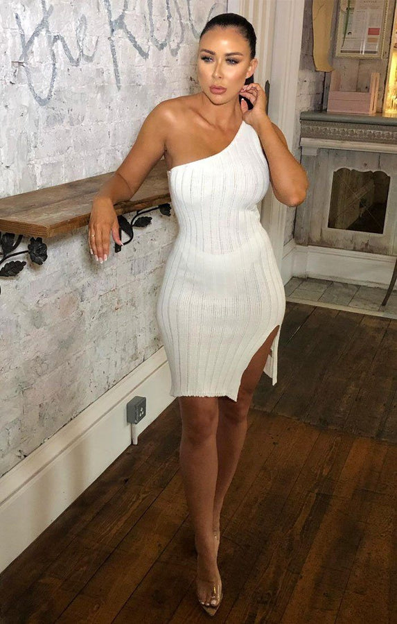 Cream Knitted One Shoulder Midi Dress - Sorcha
