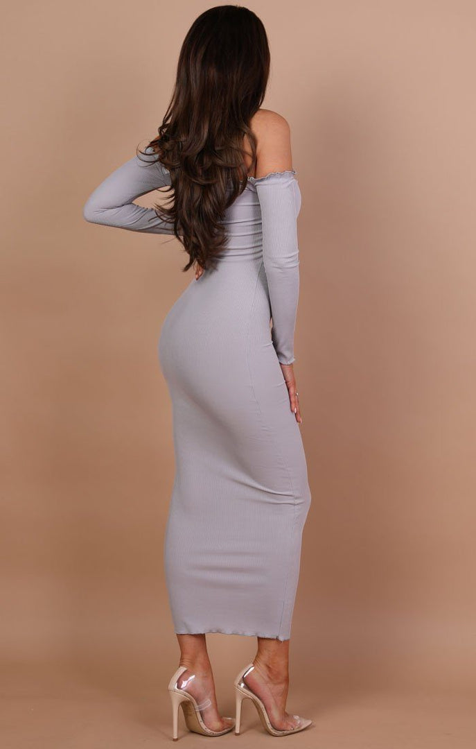Grey Frill Detail Maxi Dress - Jaycee