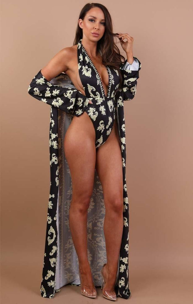 Black Baroque Print Swimwear Set - Danika