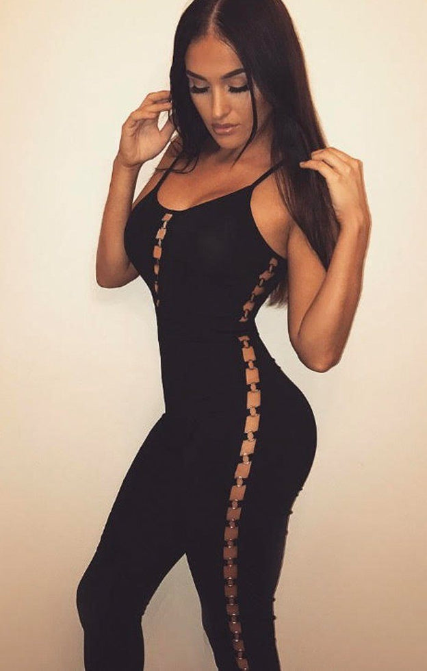 Black Strappy Ring Side Jumpsuit