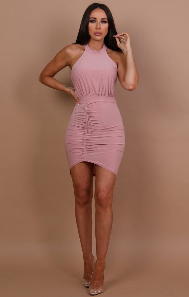 Nude Ruched Lace Up Bodycon Dress - Mia