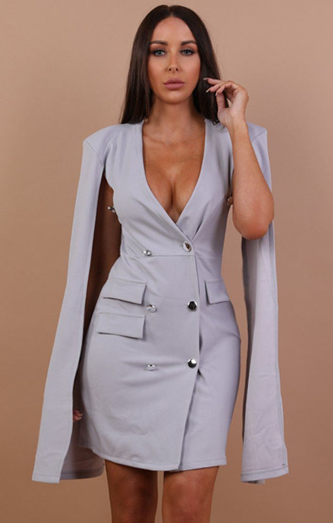 Grey Split Sleeve Blazer Dress - Abby