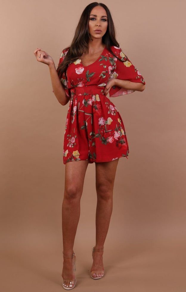 Red Floral Tie Back Playsuit - Sandy