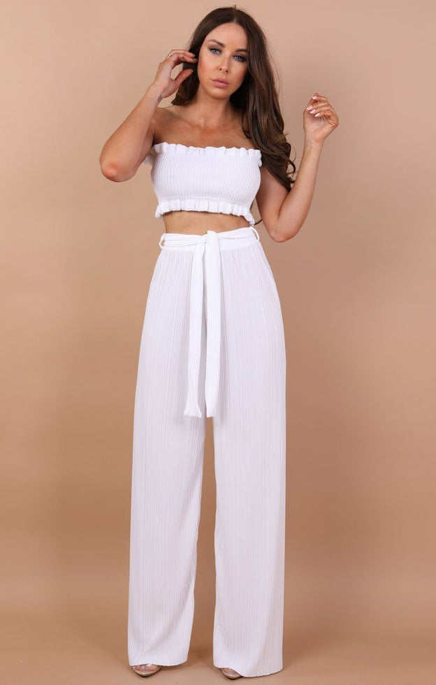 White Frill Bandeau Crop Top