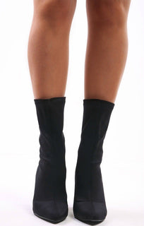 Black Square Heel Sock Boot