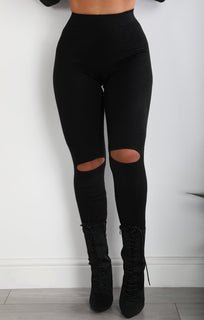 Black Split Knee Leggings
