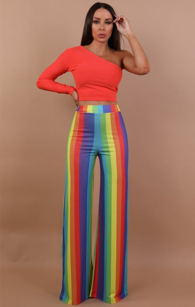 Rainbow Wide Leg Trousers - Robyn