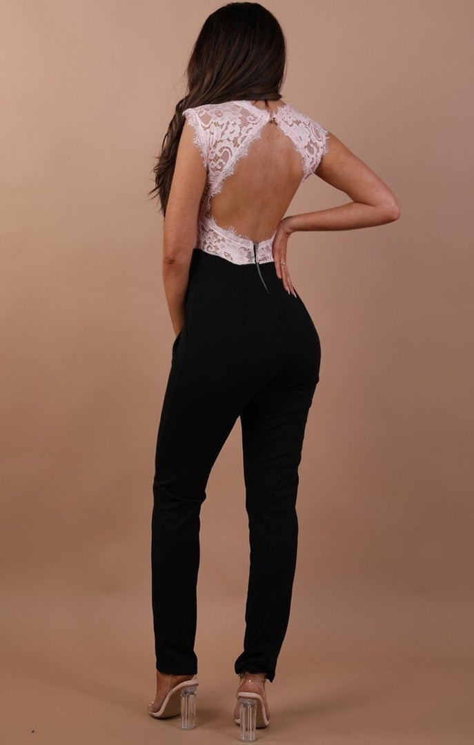 Nude Open Lace Back Jumpsuit - Chloe