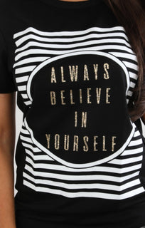 Black 'believe' Printed T-shirt