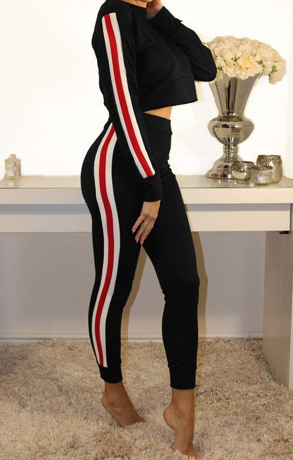 Black Side Multi Stripe Loungewear Set