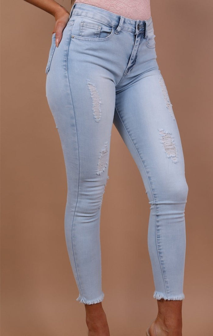 Light Blue Distressed Skinny Jeans - Jamie