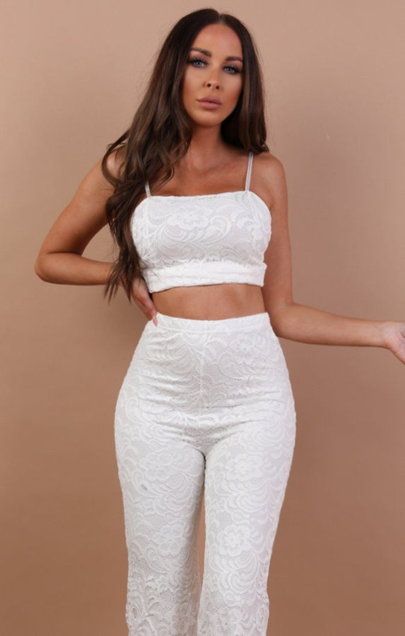 White Floral Lace Trouser Co-ord Set - Ada