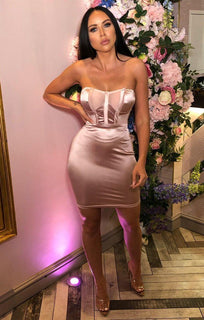Dusky Pink Satin Mesh Panel Dress - Heven