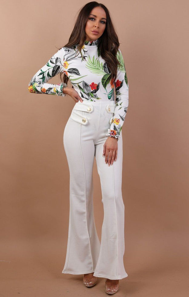 White High Neck Floral Bodysuit - Charis
