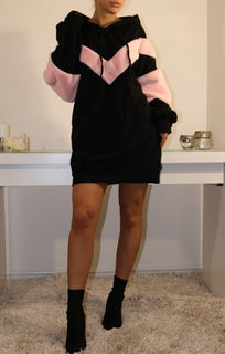 Black Oversized Faux Fur Hooded Jumper Dress