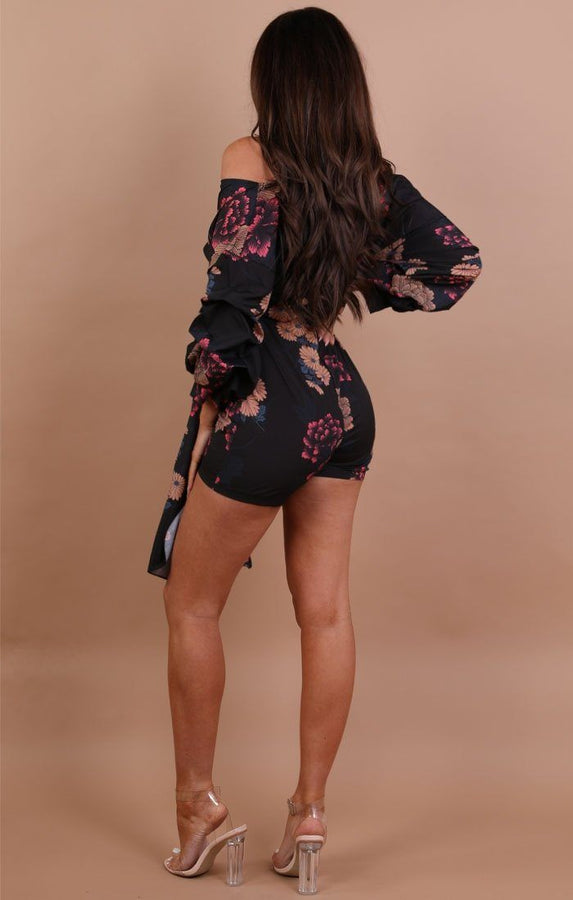 Black Floral Satin Playsuit - Rosina