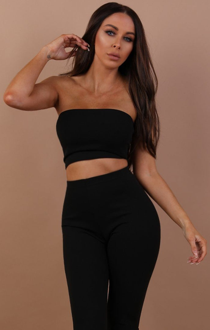 Black Bandeau Two Piece Co-ord Set - Hadley