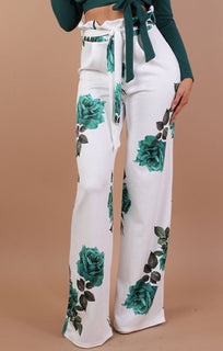 Green Floral Paper Bag Trousers – Harper