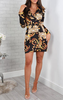 Black Scarf Print Blazer Dress