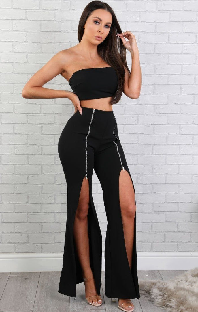 Black Zipper Two Piece Co-ord Set - Arabella