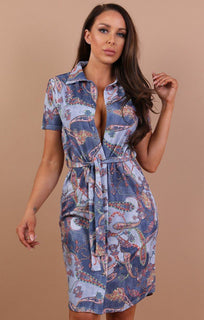 Blue Paisley Belted Shirt Dress - Saphire