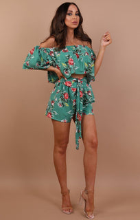 Green Floral Bardot Co-ord Set - Astoria