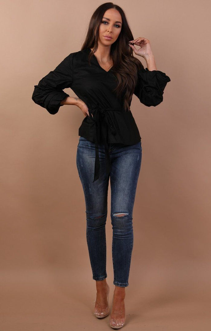 Black Ruffled Sleeve Tie Front Blouse - Julia