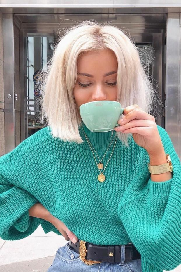 Green Cropped Baloon Sleeve Jumper- Becky