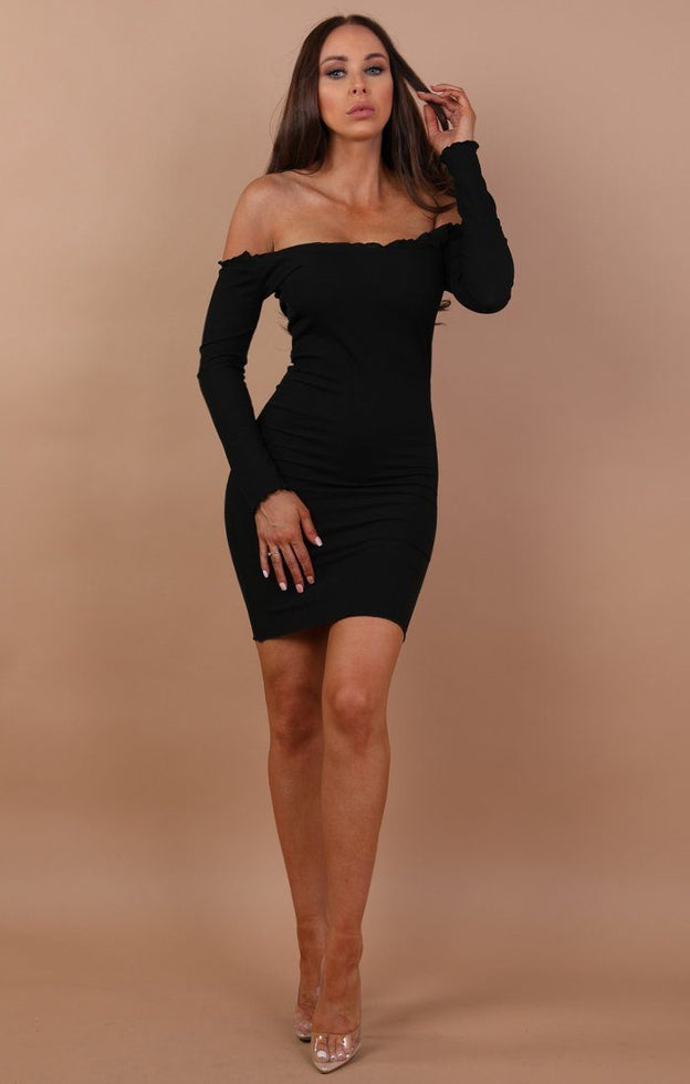 Black Bardot Frill Midi Dress - Fiona