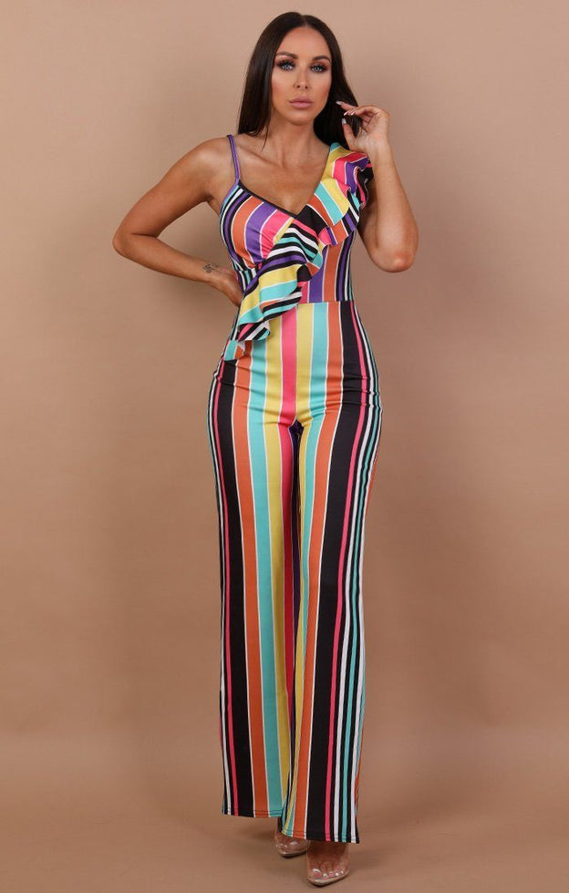 Rainbow Stripe Frill Jumpsuit - Sammy