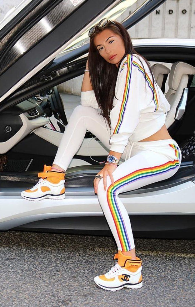 White Rainbow Stripe Tracksuit - Brooke