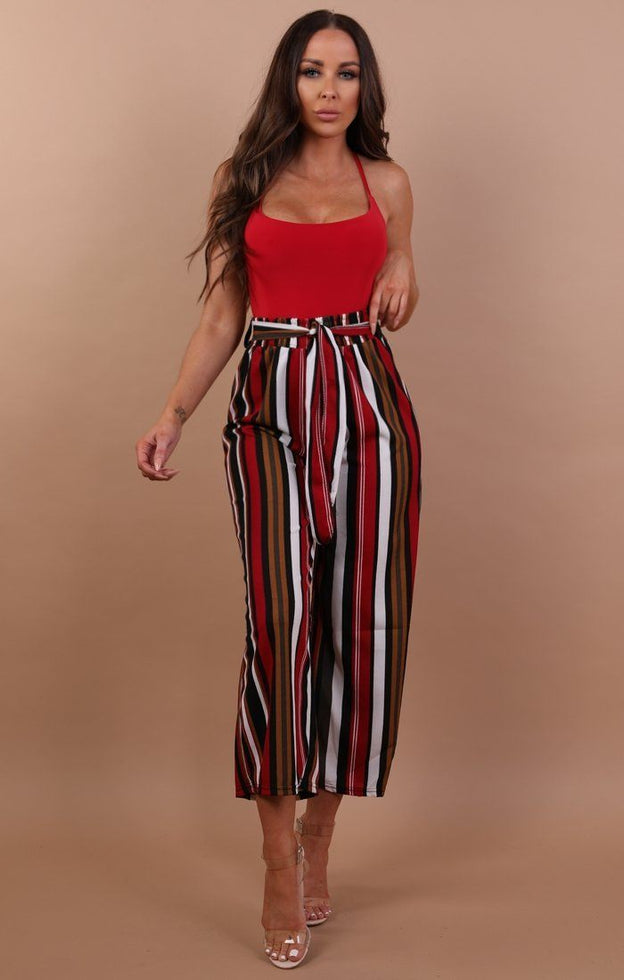 Red Striped Wide Leg Trousers - Alison