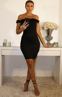 Black Off The Shoulder Frill Bodycon Dress