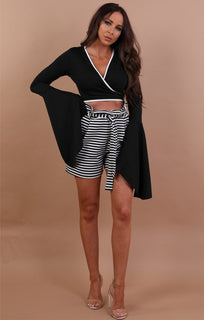 Black Contrast Trim Front Wrap Crop Top - Vivian