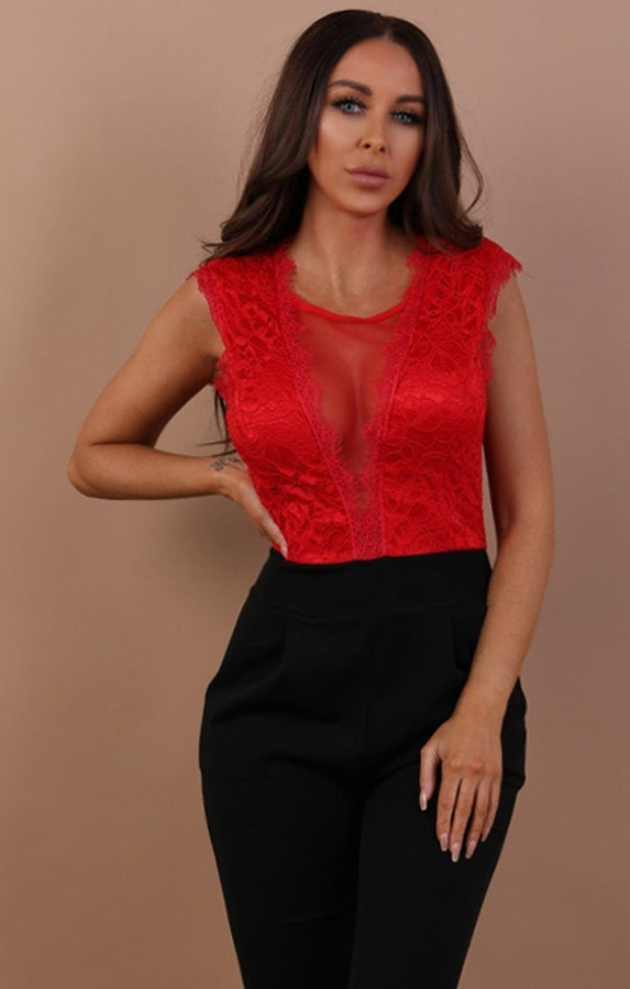 Red Open Lace Back Jumpsuit - Chloe