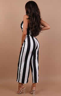 Black Striped Choker Plunge Jumpsuit - Leona