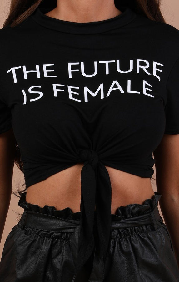 Black The Future Is Female Crop Top - Naomie