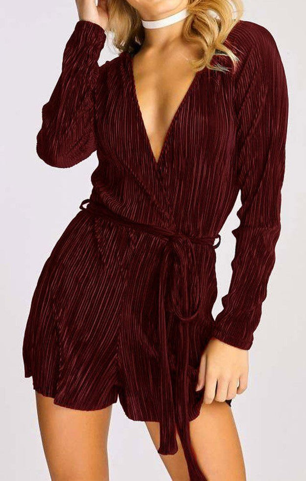 Wine Pleated Satin Wrap Playsuit