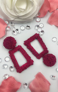 Fuchsia Square Textured Earring - Cleo