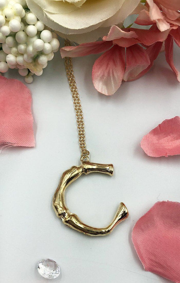 Gold Bamboo C Initial Necklace - Vita