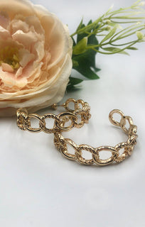 Gold Link Chain Textured Hoop Earrings - Emery
