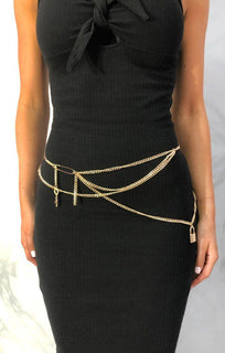 Gold Lock and Key Chain Belt - Jazmin