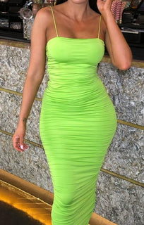 Green Ruched Side Maxi Dress - Jaden