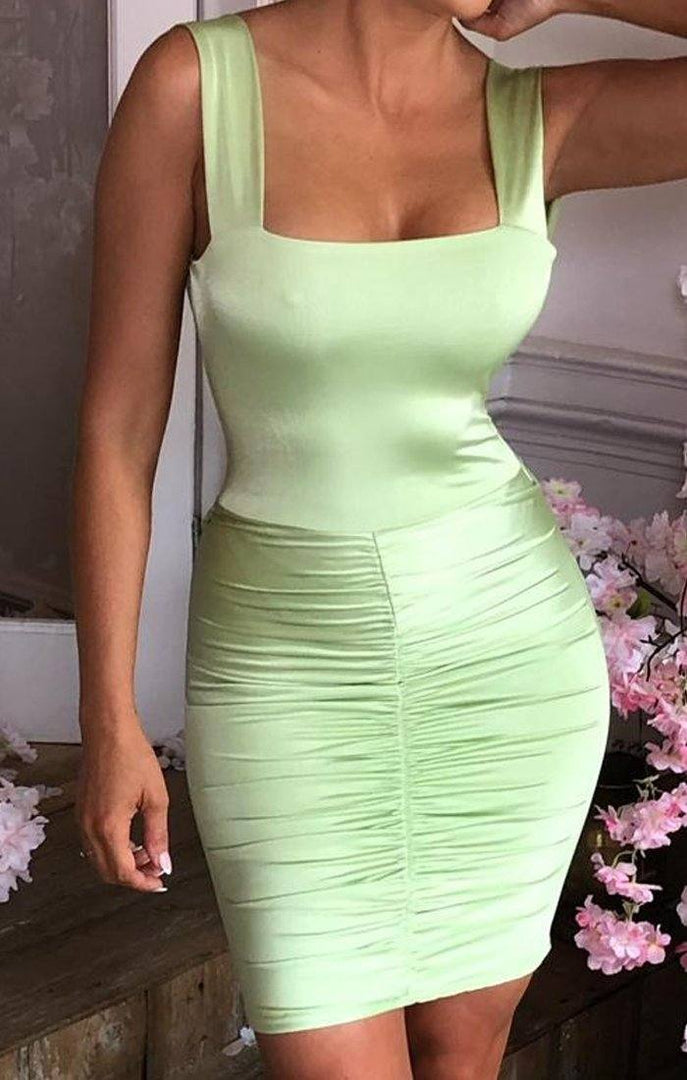 Green Slinky Open Back Mini Dress - Karter