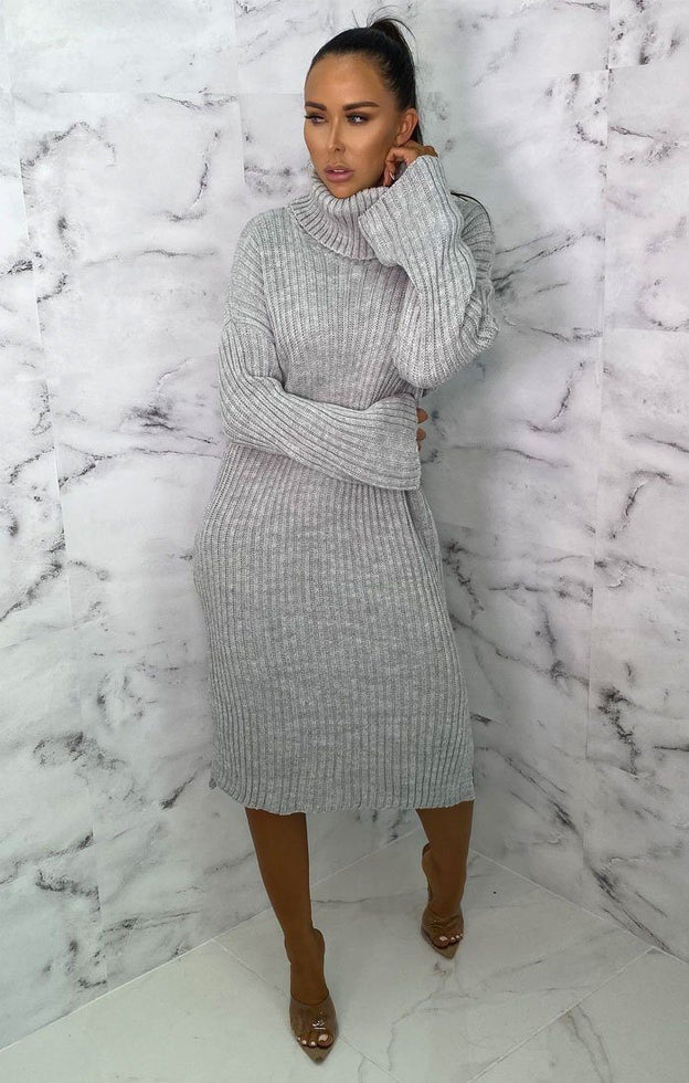 Grey High Neck Knitted Side Split Jumper Dress - Penelope
